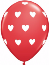 Big Hearts Balloons (Red & White Ink) - 11 Inch Balloons 6pcs